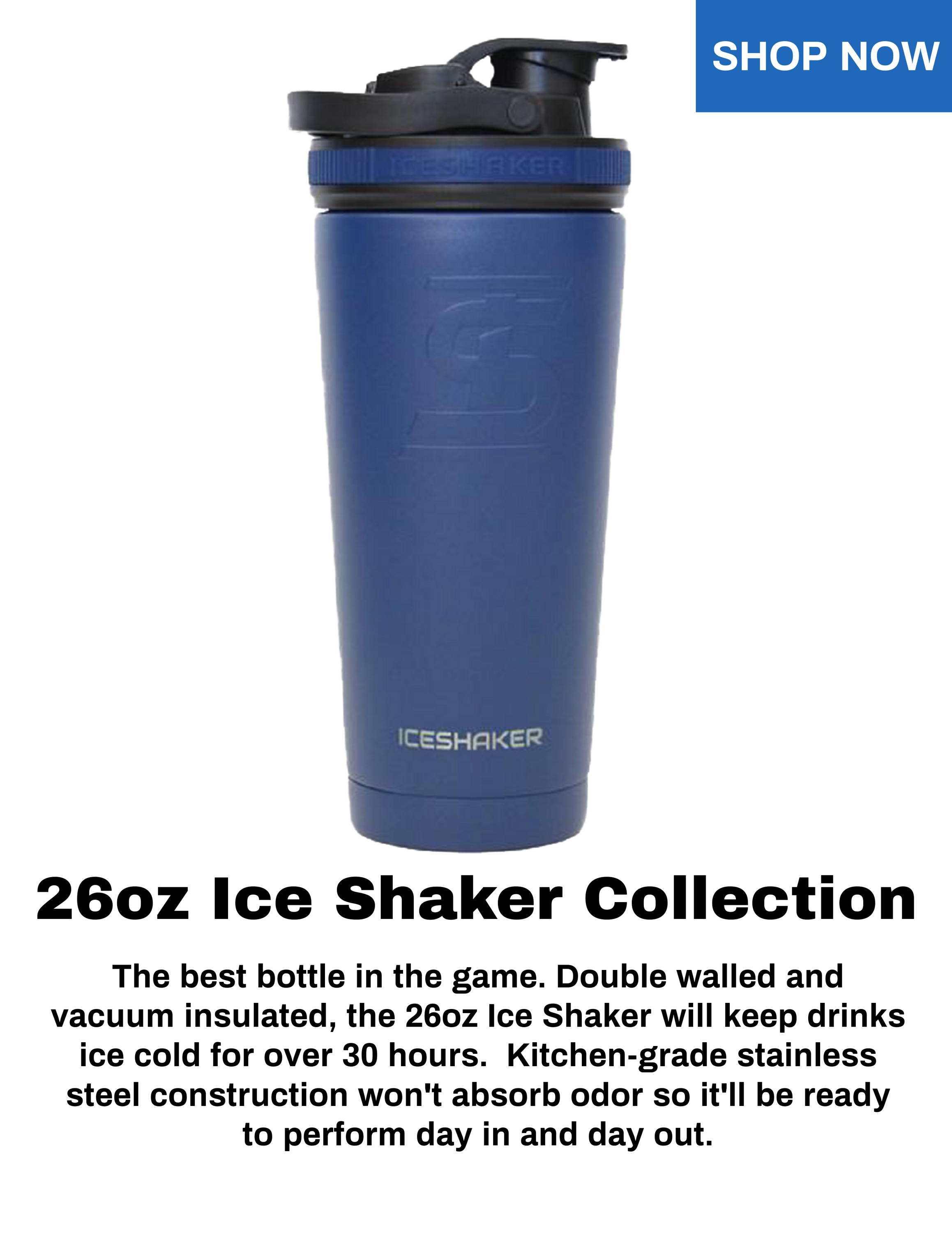 Stainless Steel Insulated Water Bottle Protein Mixing Cup Purple 16oz Iceshaker