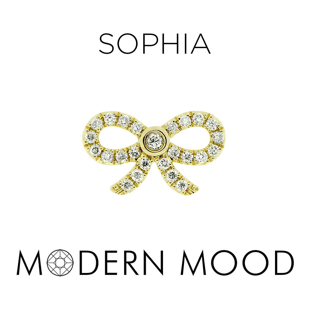 sophia bow ribbon diamond piercing jewelry
