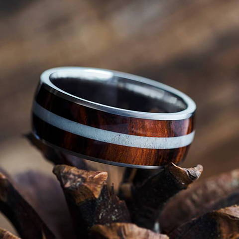 honduran rosewood ring with deer antler titanium wedding band