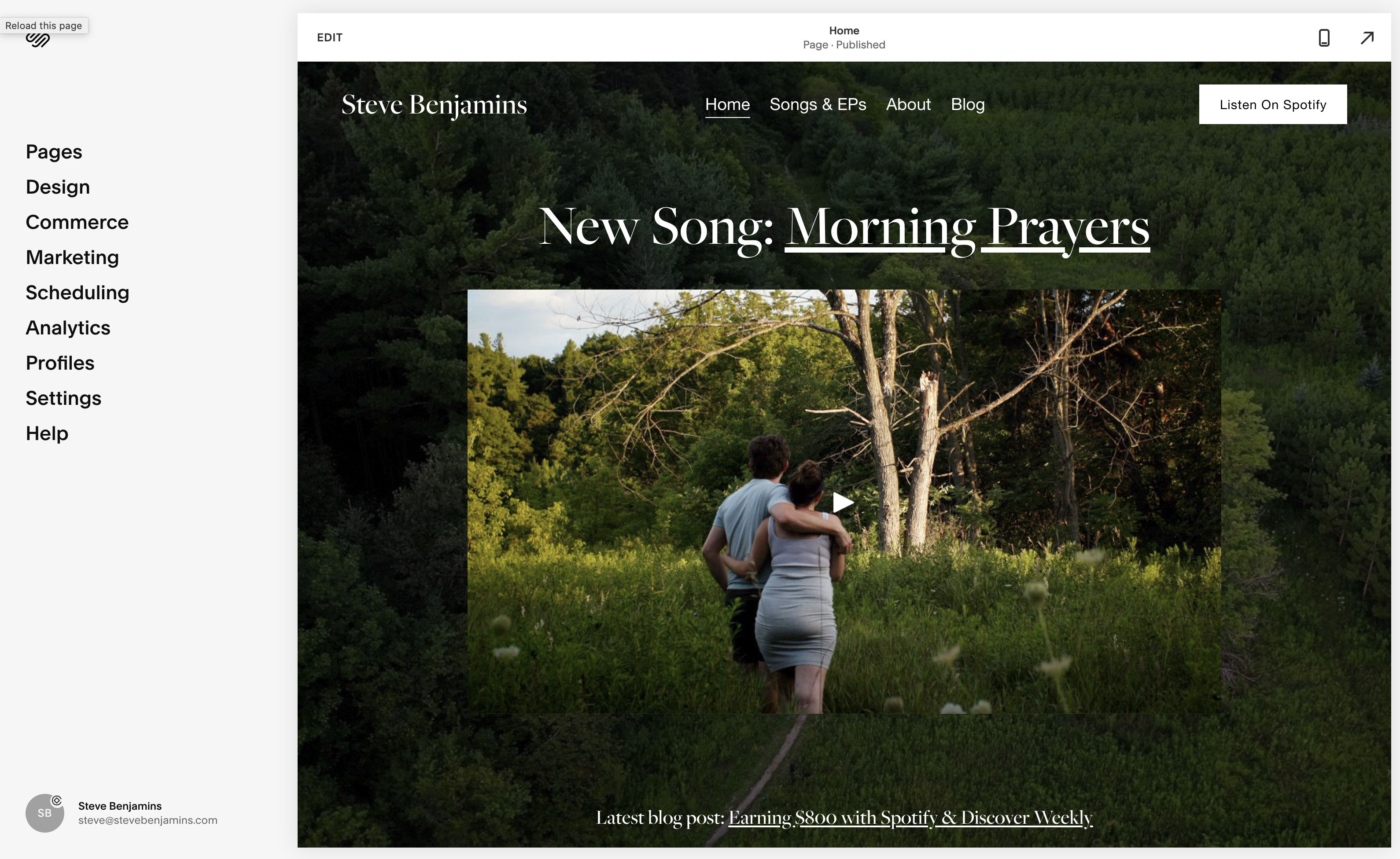 The website we'll be building in Squarespace.