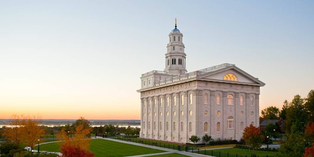 Panoramic photo of the Nauvoo Illinois LDS Temple facing West.
