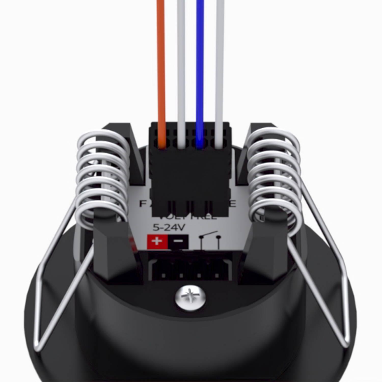 Faradite Volt Free motion sensor removable terminals dry contact potential free Control4 Lutron Rako Crestron black motion sensor