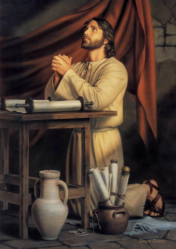 LDS art painting of Jesus kneeling at a table and praying.