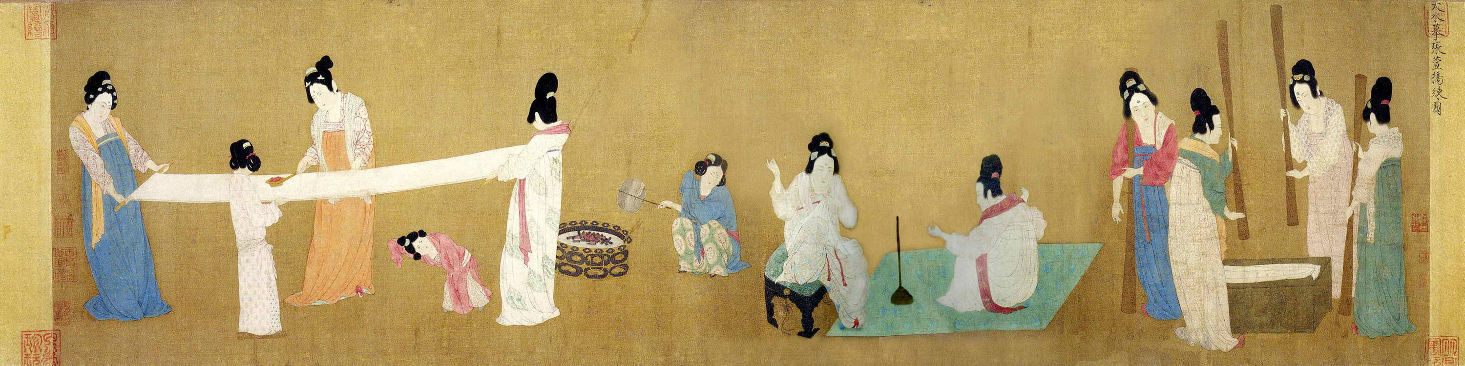 Image of woman in japan making silk on old painted panel