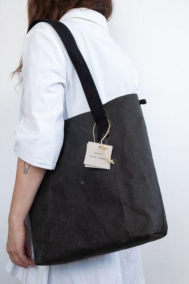 сумка шоппер из текстильного крафта, размер М, цвет черный