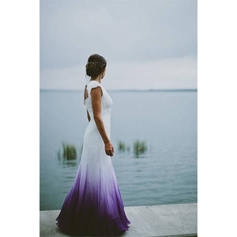 white wedding dress with violet tail hues