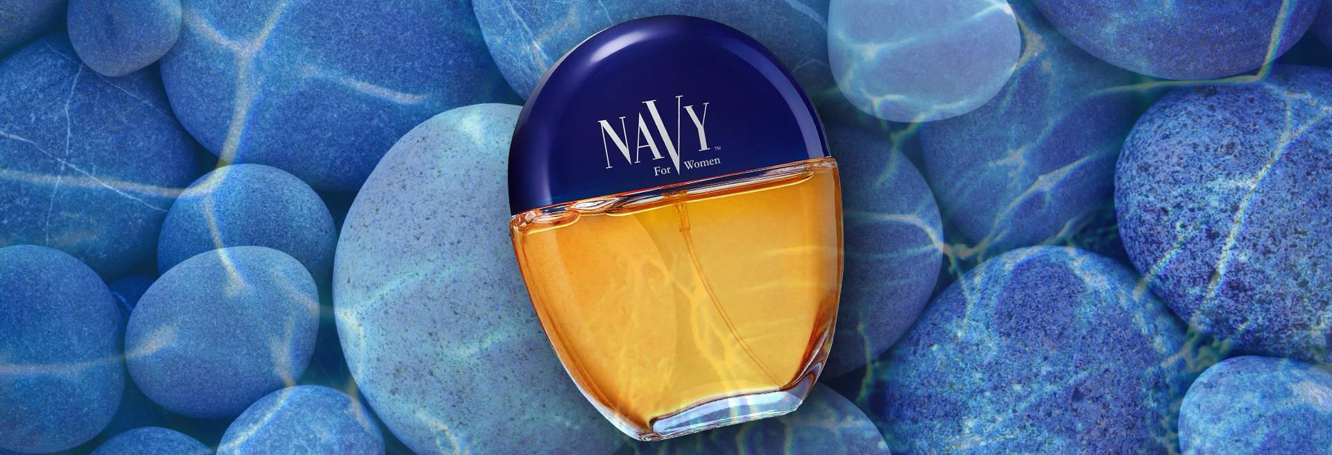 Bottle of Navy for Women cologne, pebbles under water, ocean
