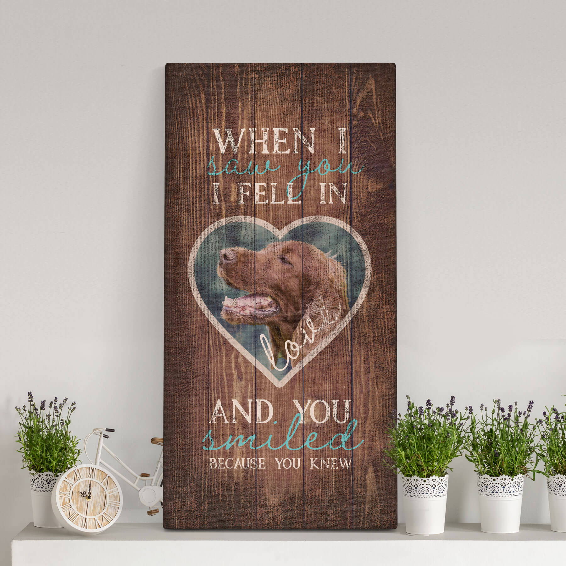 """""""When I Saw You I Fell in Love and You Smiled Because You Knew"""", Personalized Canvas Print"""