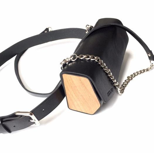 Черная сумка трансформер на цепочке с ремнем.