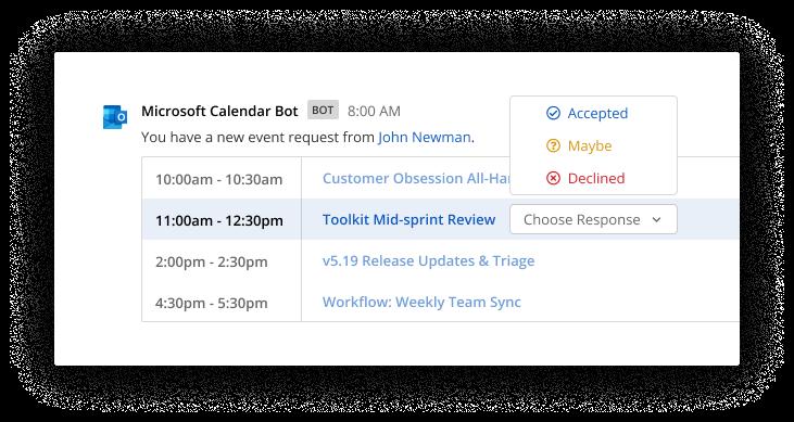 Outlook calendar sample screenshot