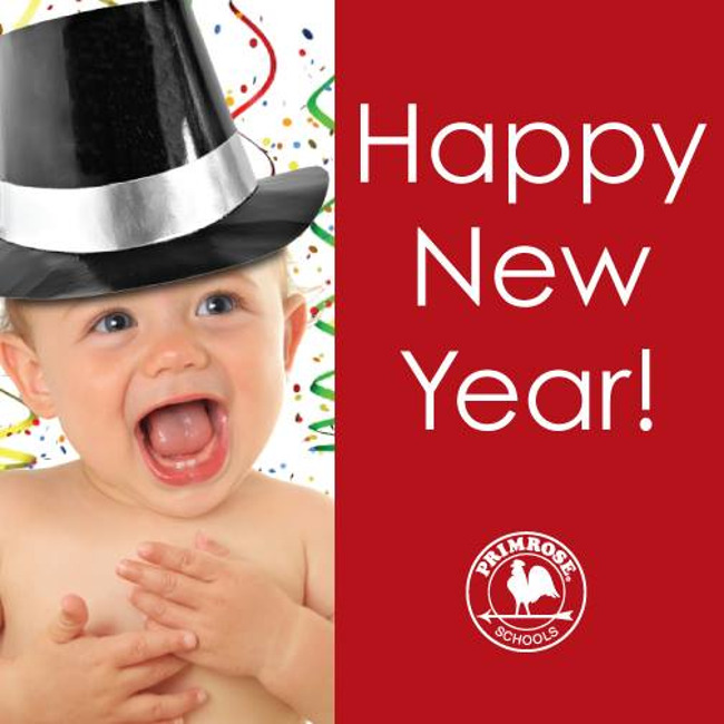 Happy new year poster featuring an excited toddler