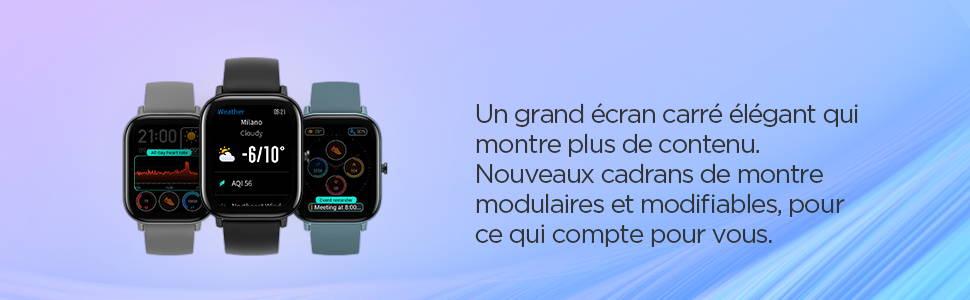 Amazfit GTS - Un grand écran carré élégant qui montre plus de contenu. Nouveaux cadrans de montre modulaires et modifiables, pour ce qui compte pour vous.