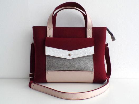 Винная сумка-портфель из фетра и натуральной кожи