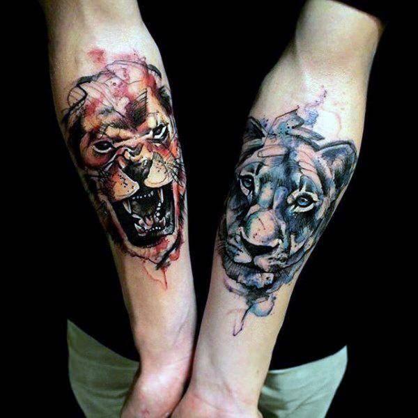 Tatouage Lion et Lionne en Couleur
