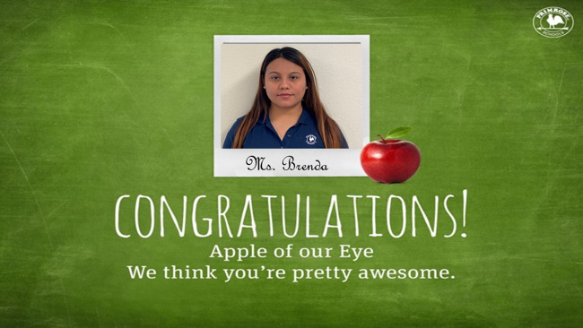 Congratulations to May's Apple of our Eye, Ms. Brenda!