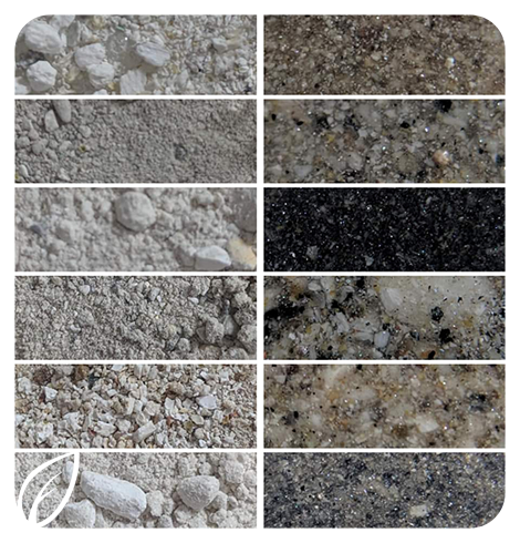 """Comparison of """"dry"""" cremation ashes vs solid North Faun cremation ash memorial gems"""