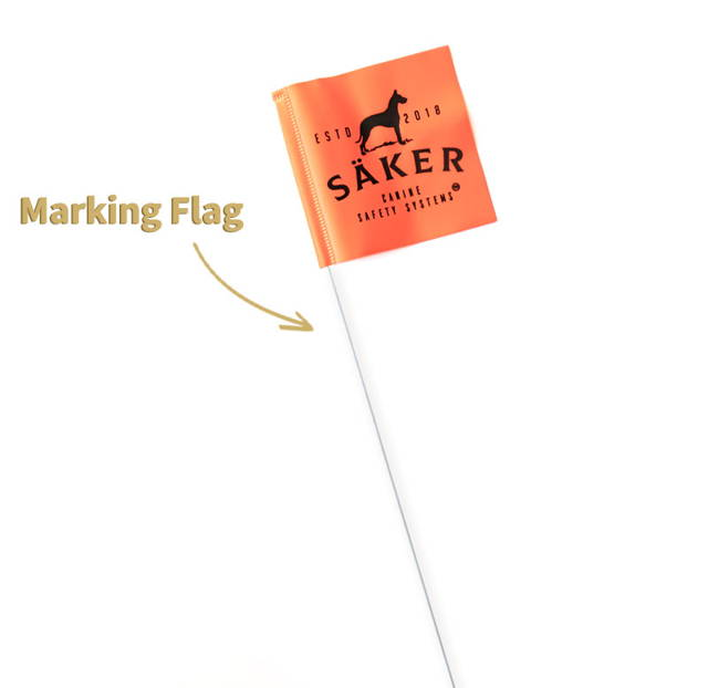 saker tie-out stake marking flag