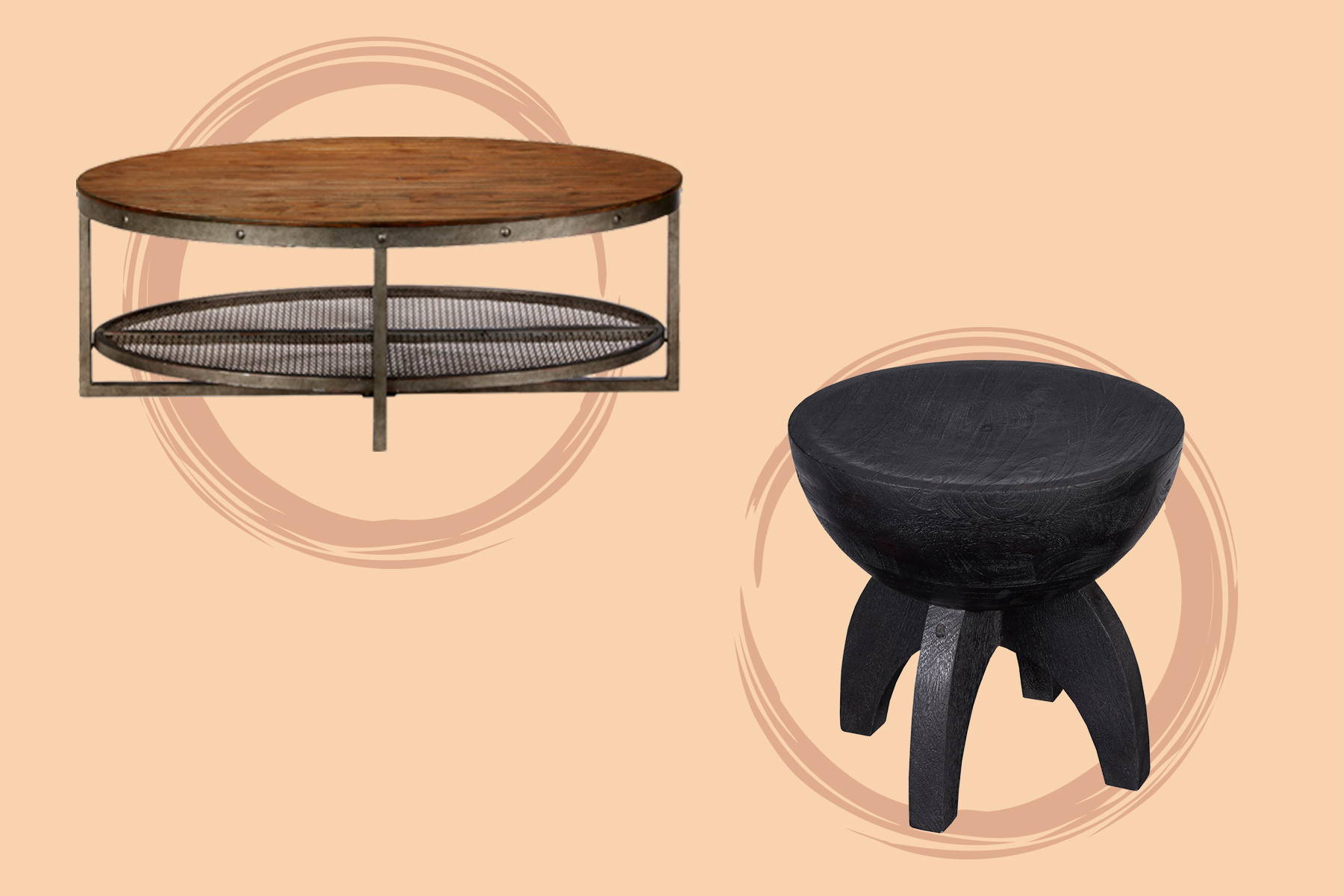 solid wood black side table and a round table