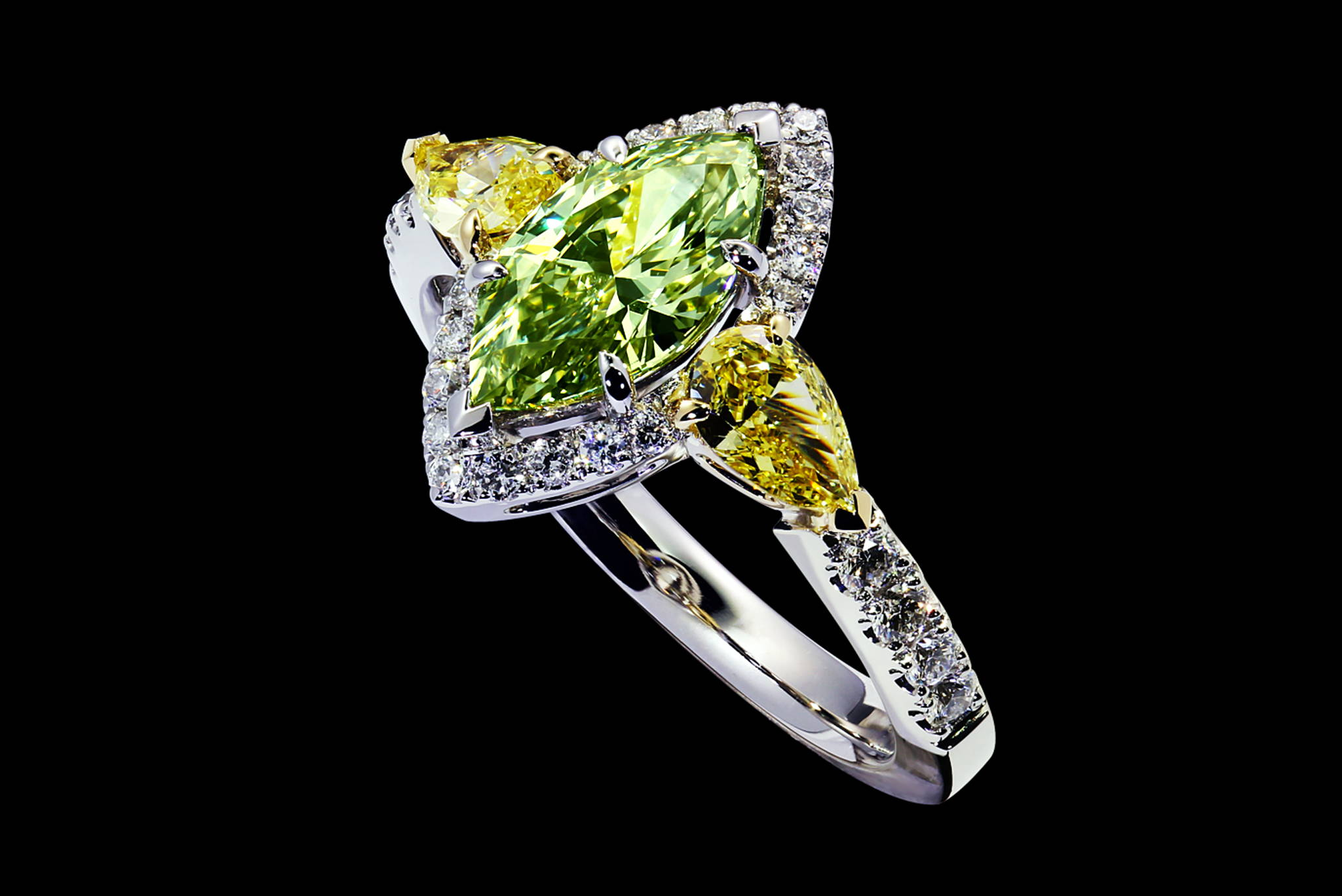 La Chartreuse Colored Diamond Ring 45 degrees view