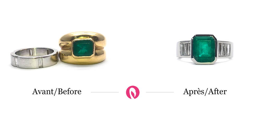 Transformation of two old rings, one in yellow gold with emerald and one in white gold, into a textured ring in white gold with emerald.