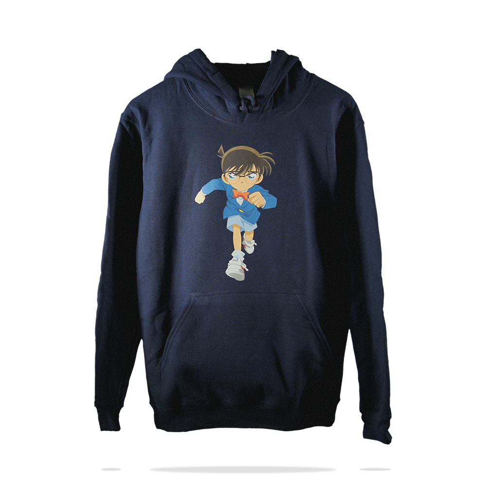 Front printing on navy blue cotton fleece pull over hoodie sweatshirt SJ Clothing Co M