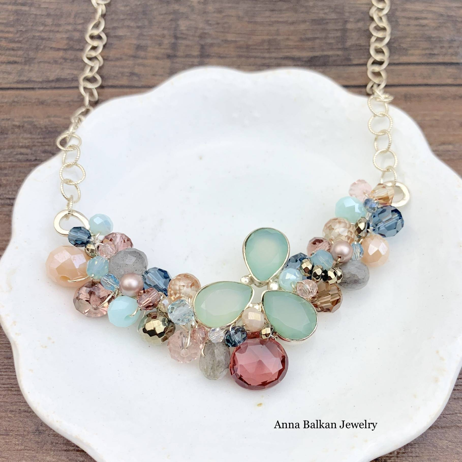 Chalcedony Ray Branch Necklace