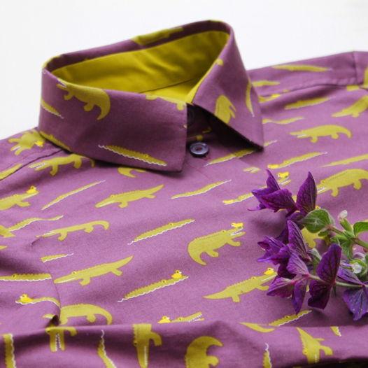 """Рубашка """"Крокодилы в лиловом море"""""""