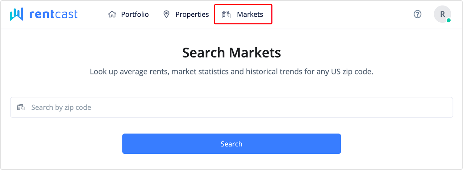 Market search page link in navigation bar
