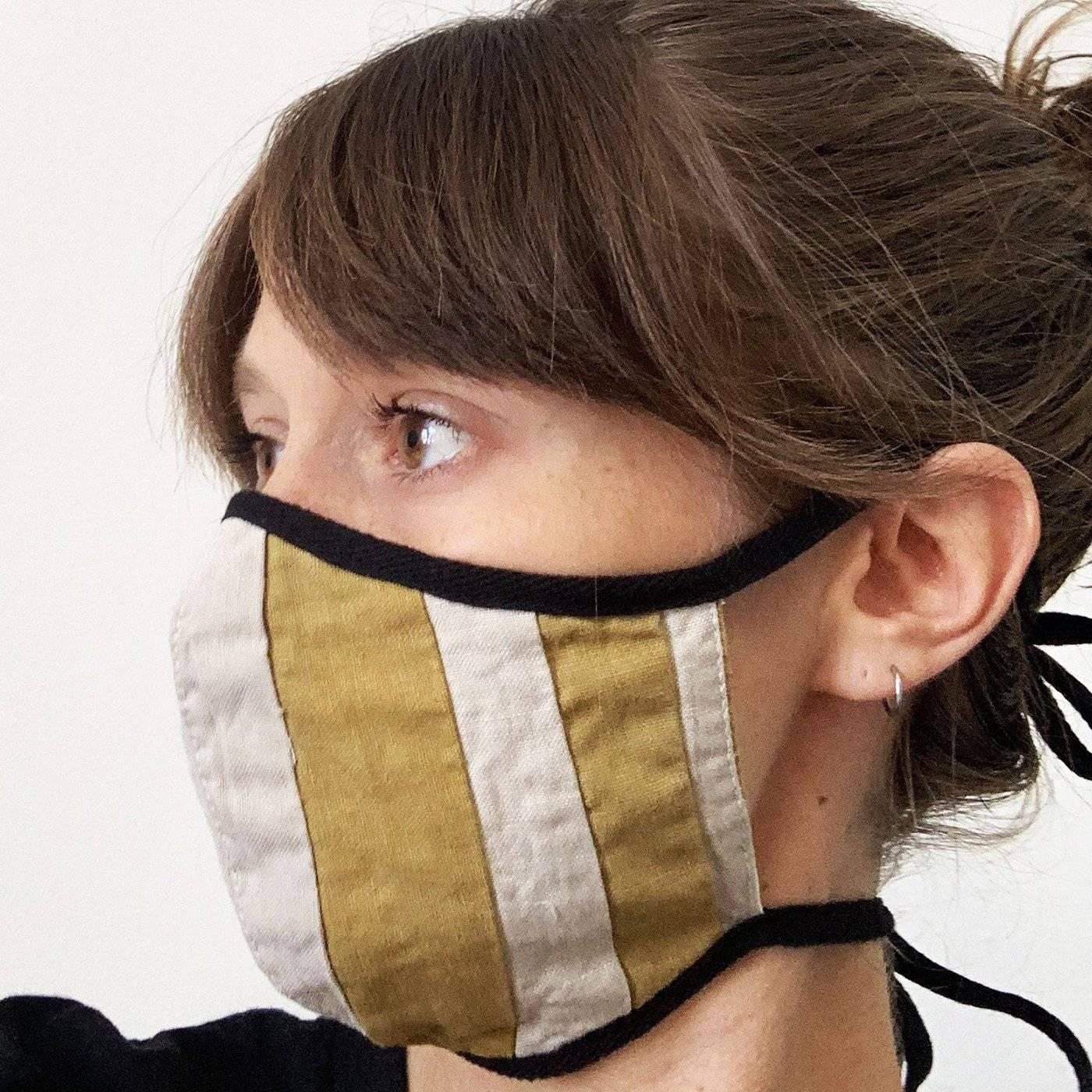 tonlé zero waste cotton face mask in mustard stripes