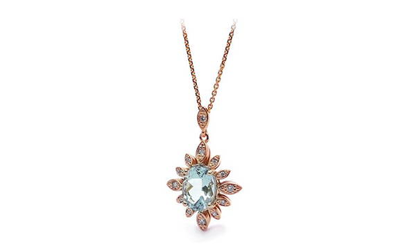 rose gold pendant with aquamarine titled the big blue under the sun