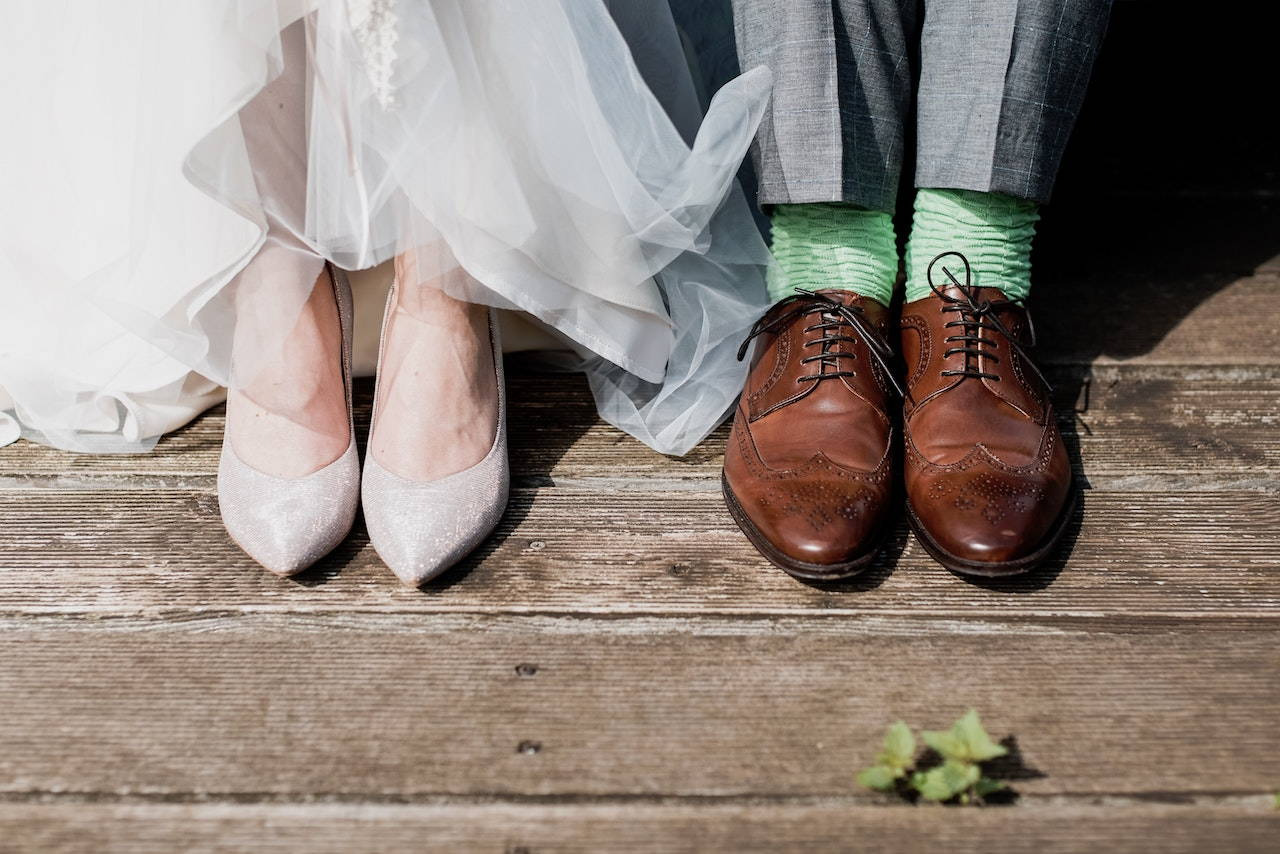 Husband and wife wedding shoes as worn  | Lily Gardner London
