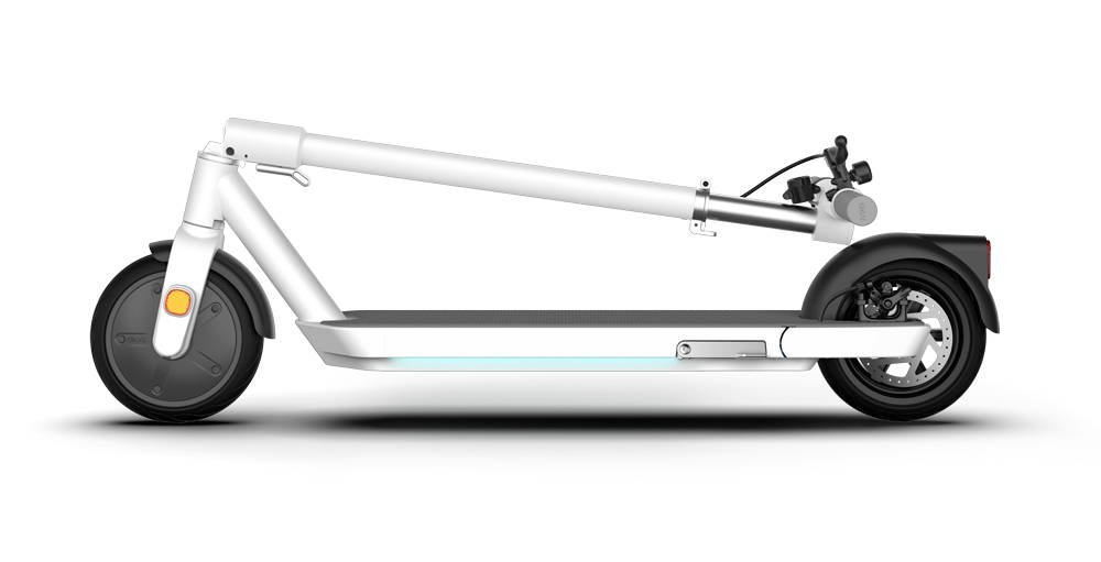 okai neon folded scooter foldable portable compact light escooter