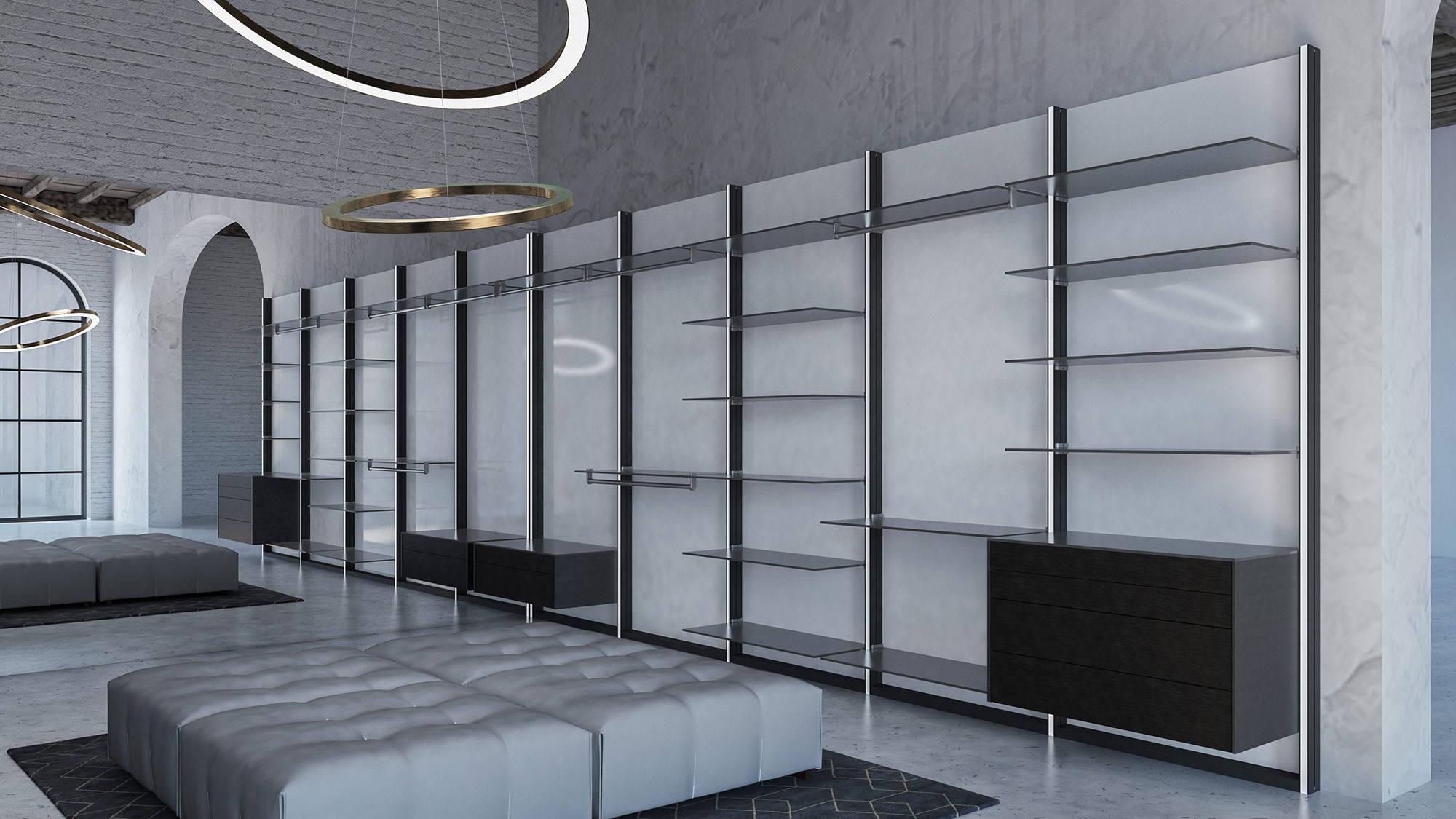 Modern black and white walk-in closet