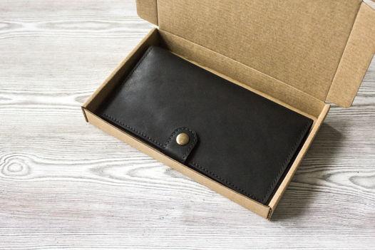 """Черное портмоне, из натуральной кожи """"Краст"""""""