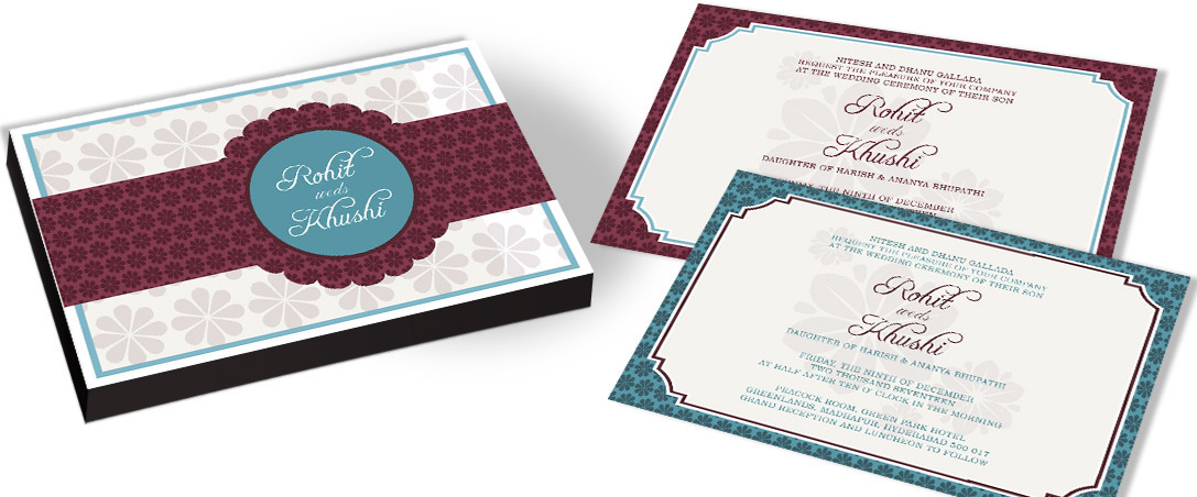 Blue Border Invitation card for Marriage