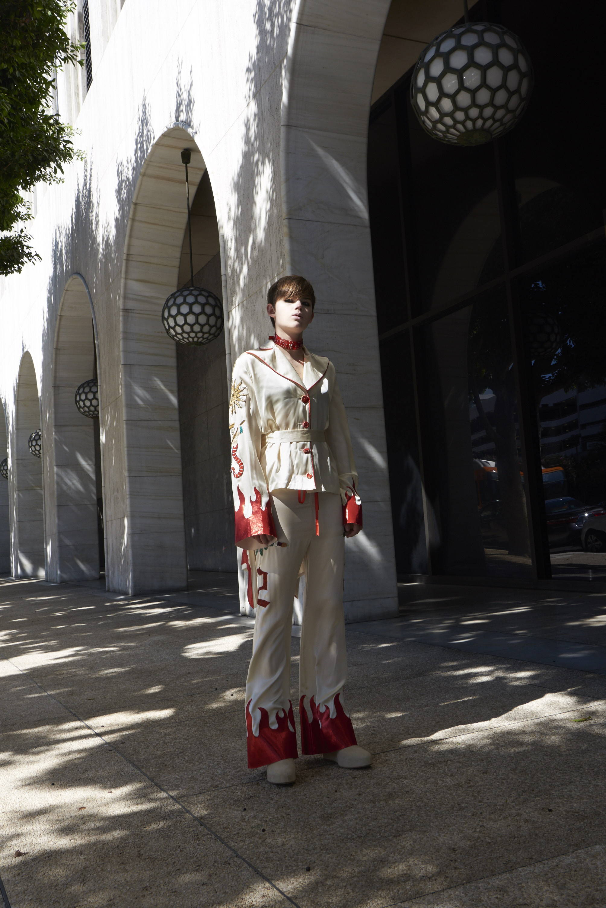 HLorenzo FW17- Dilara Findikoglu patchwork pants and masonic blazer womenswear feature