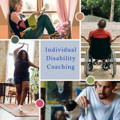 Individual Disability Coaching, Woman reading in window seat, Black woman dancing in her living room, frustrated male wheelchair users facing stairs, young male painting at a table with a kitten