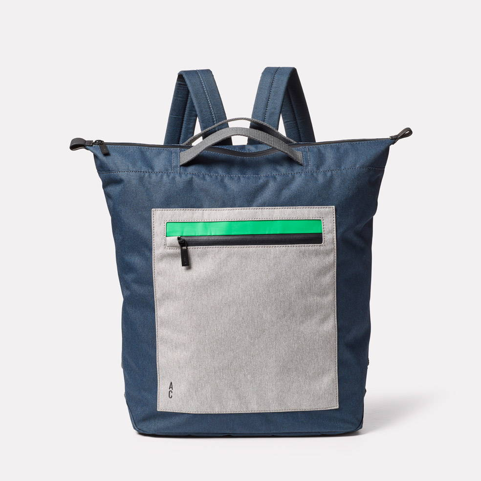 Front of Hoy Travel and Cycle Backpack in Navy/Grey