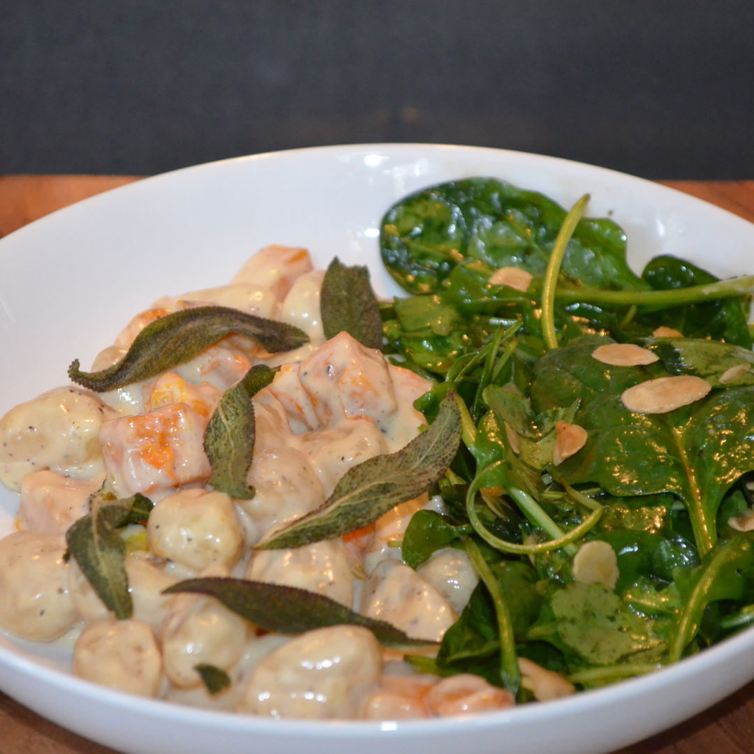 Date: 11 Apr 2020 (Sat) 102nd Main: Pumpkin Gnocchi with Crispy Sage Leaves & Rocket, Spinach & Almond Salad [305] [158.5%] [Score: 9.5] Cuisine: Italian Dish Type: Main