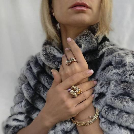 Кольцо «Лиана» из золота накатного 14 карат