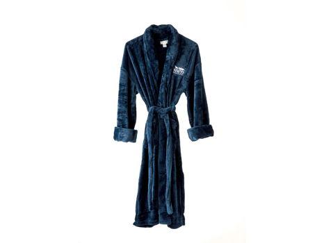 Navy blue microfleece robe w/ NWTF logo in white