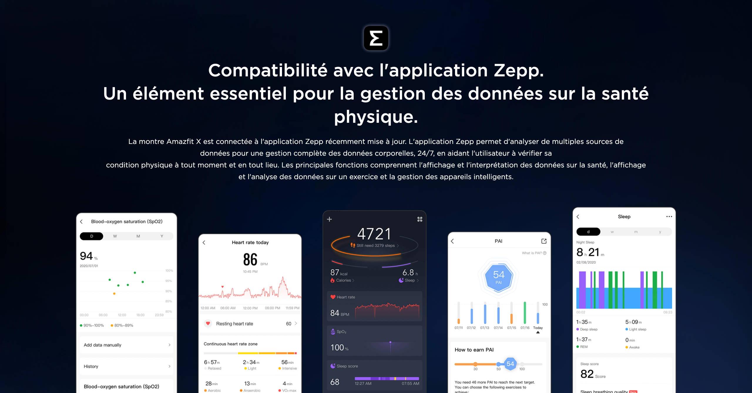 Amazfit X - Compatibilité avec l'application Zepp. Un élément essentiel pour la gestion des données sur la santé physique.