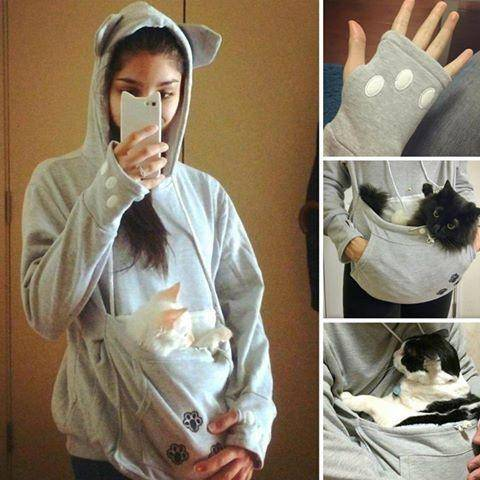 best cat pouch hoodie, carry your cat hoodie, sweatshirt with cat pouch