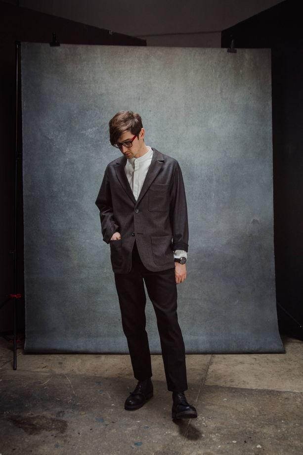 Пиджак коричневый меланж из тонкой шерсти