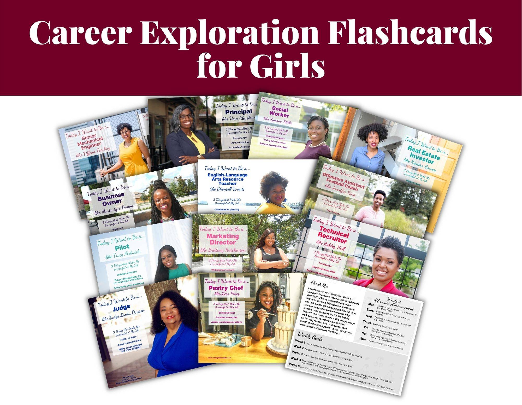 career exploration flash cards of black african American women with their job titles