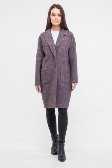 Пальто-кокон серо-фиолетового цвета