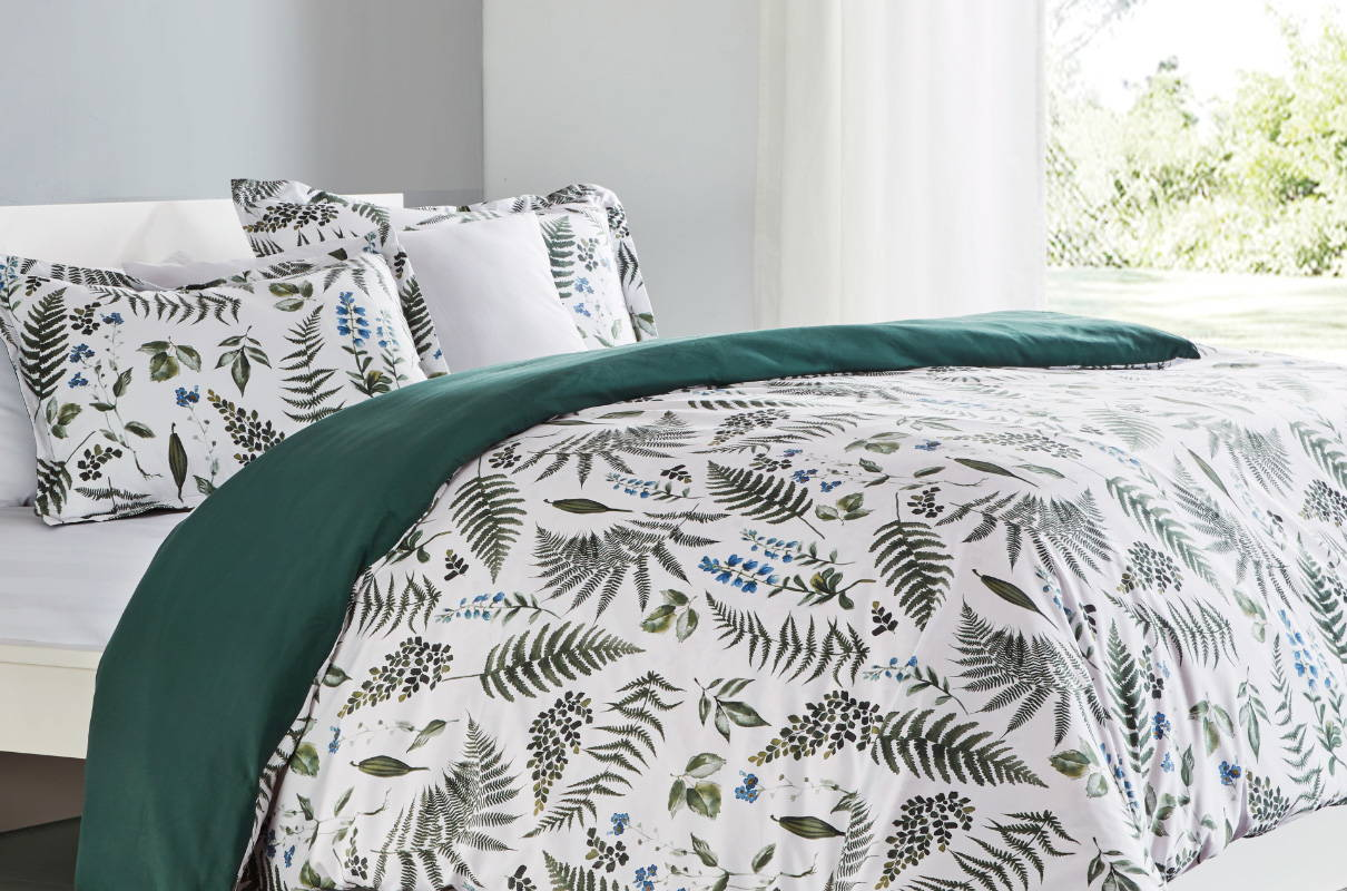 sleep zone bedding website store products collections printed duvet cover green tropical plants bedroom