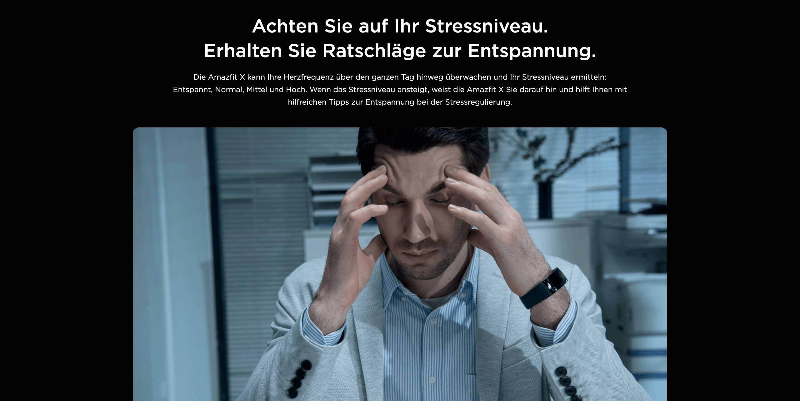 Amazfit X - Achten Sie auf Ihr Stressniveau. Erhalten Sie Ratschläge zur Entspannung.