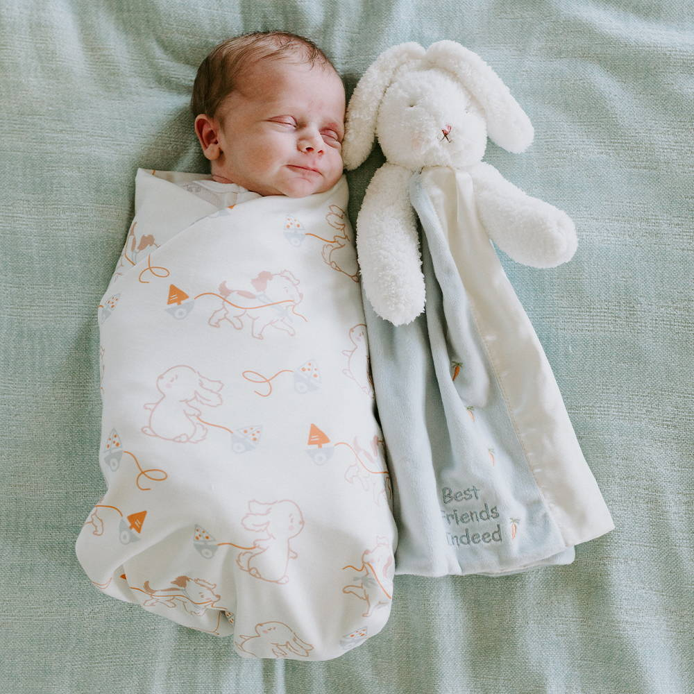Baby sleeping with a lovey