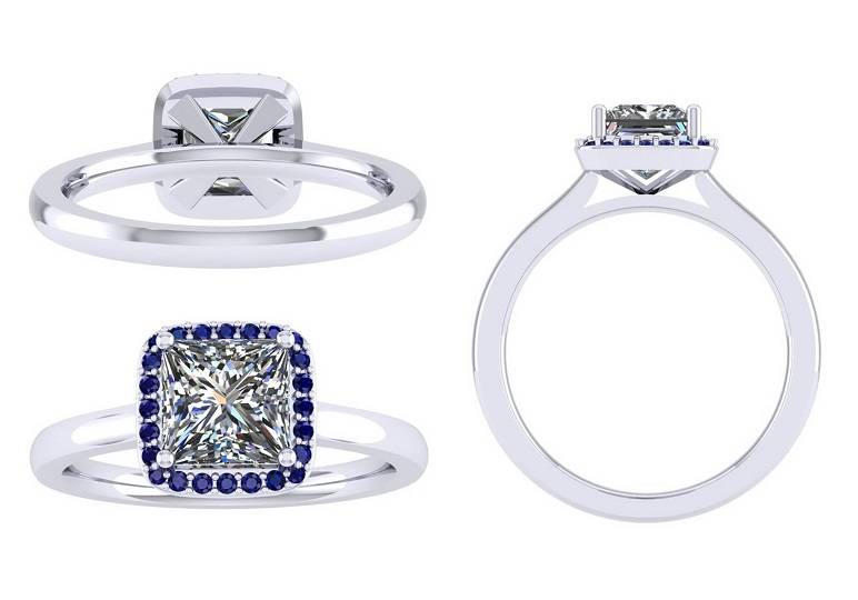 Bespoke princess cut diamond and sapphire rings - Pobjoy Diamonds - Surrey